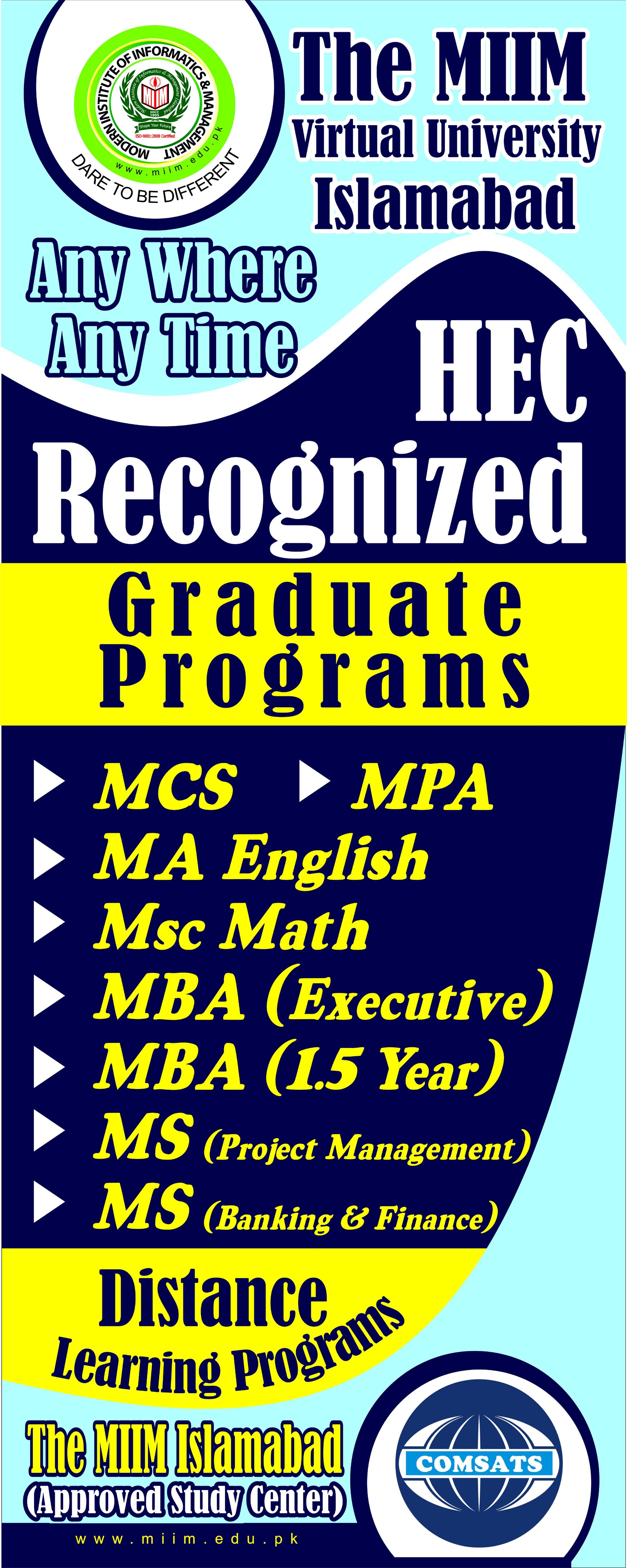 distance learning degree programs the miim islamabad distance learning degree programs 5x2 standee 2