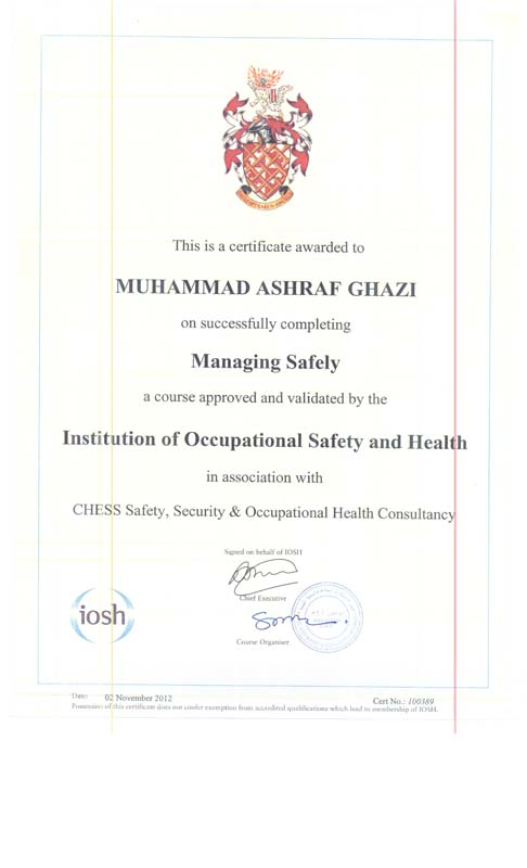 IOSH Training & Certificate – The MIIM Islamabad
