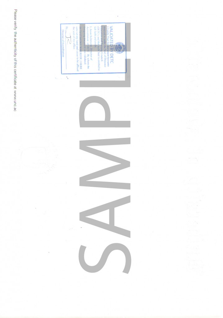Diploma (University of Newcastle) back-SAMPLE