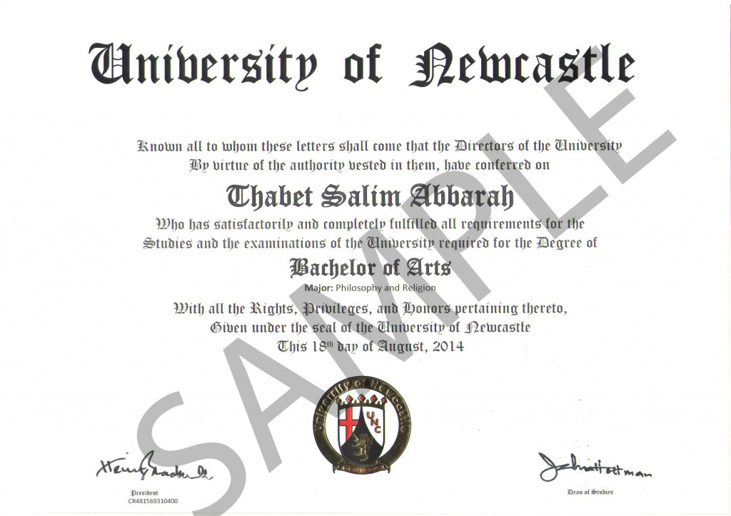 Diploma (University of Newcastle) front-SAMPLE