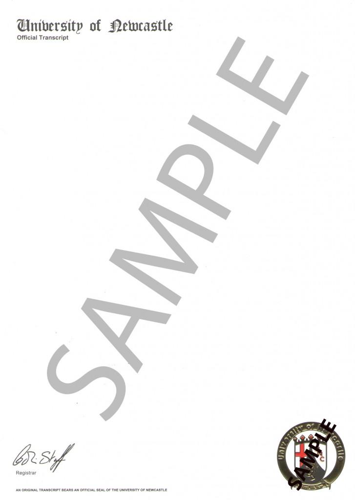 university of newcastle (Grading information)  back-SAMPLE
