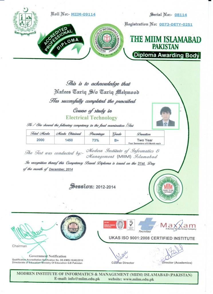 NAFEES TARIQ MIIM-09114 FRONT