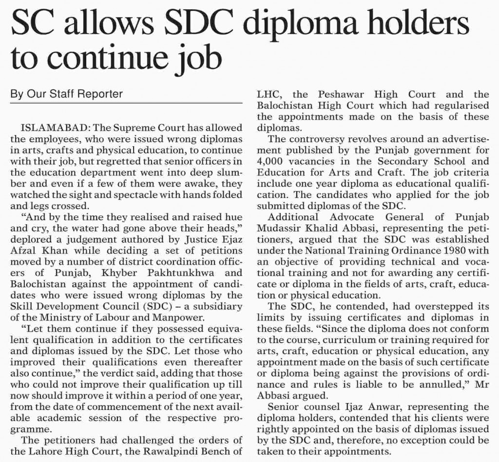 Dawn News Supreme court order in favour of SDC Diploma holders for job 1