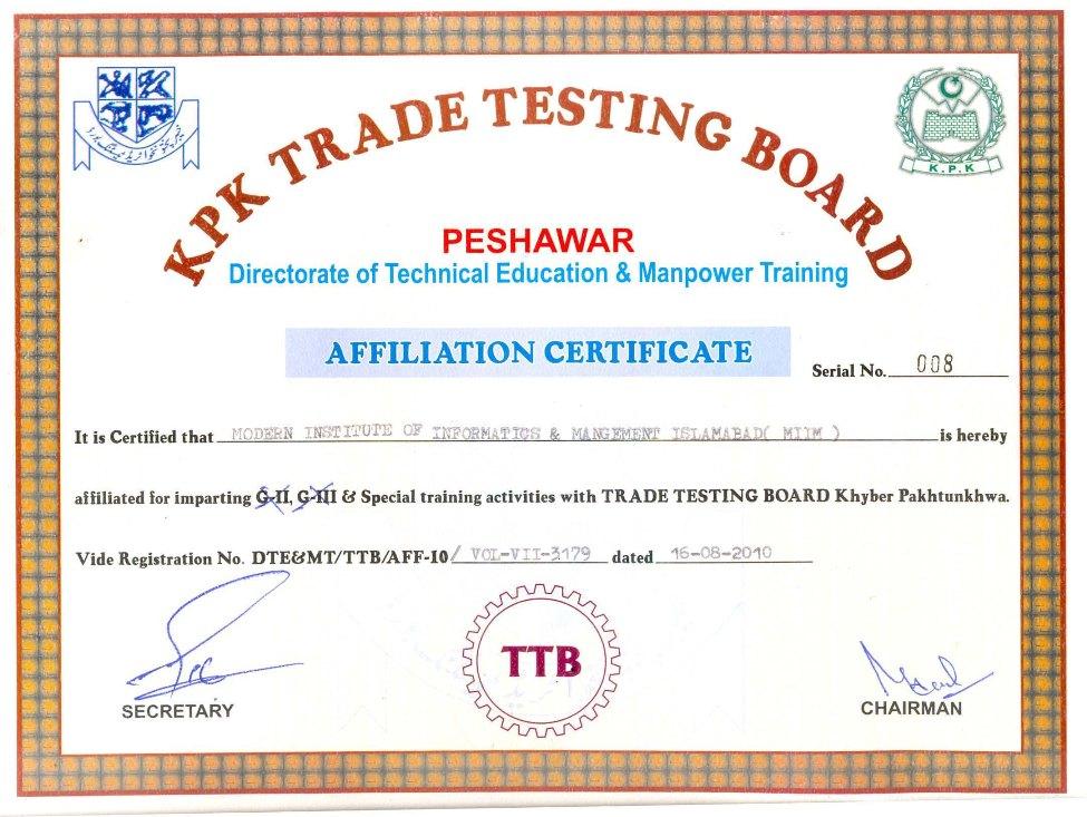 Trade Testing Board Kpk The Miim Islamabad